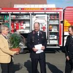 vlnr: Bürgermeister Kurt Hambacher, Ortswehrleiter Holger Baumann, Gemeindewehrleiter Andreas Ehrhardt